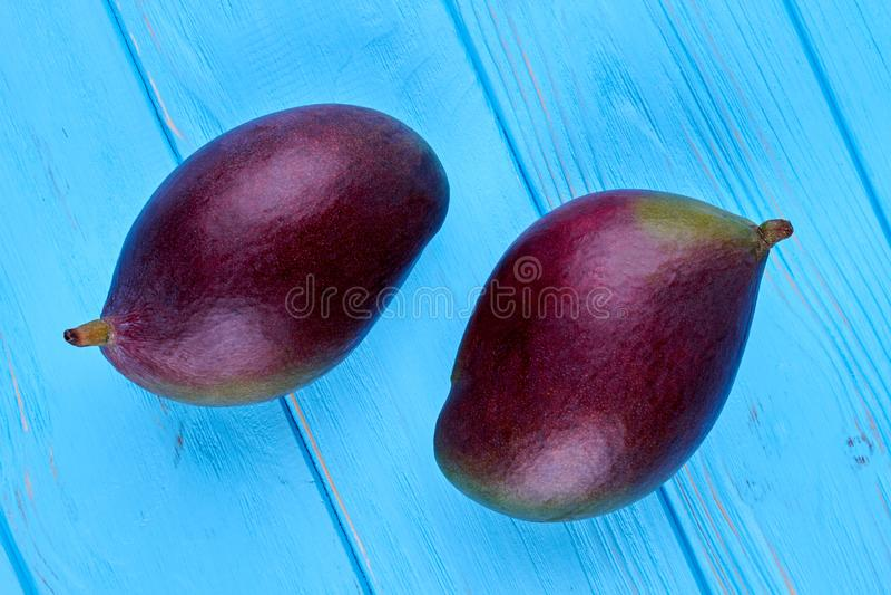 Två nya mango på blå träbakgrund royaltyfria foton