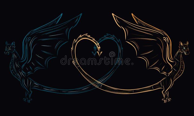 Två olika drakar och en hjärta av deras svansar, förälskelsen av op stock illustrationer