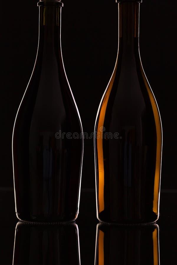 Två olika flaskor av vin royaltyfria bilder