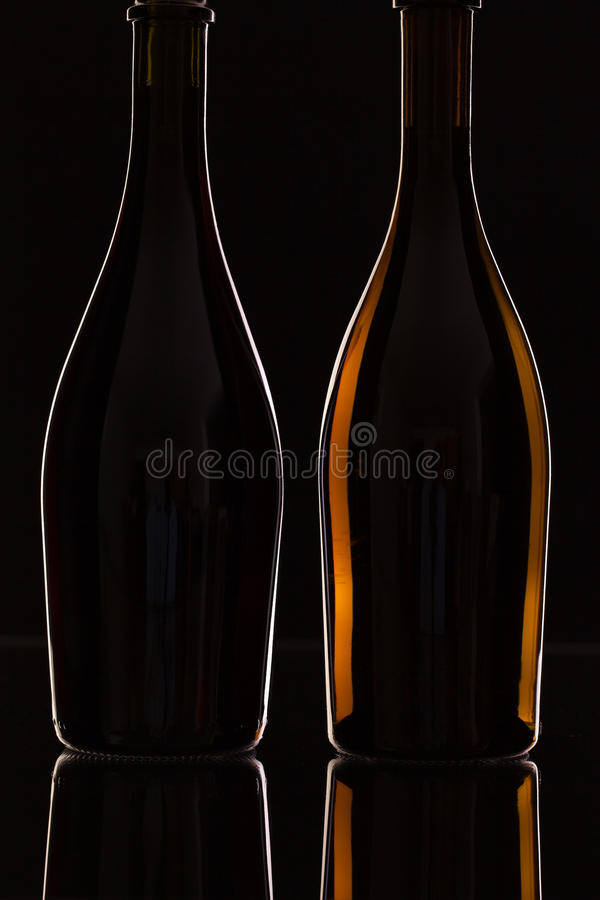 Två olika flaskor av vin royaltyfri bild