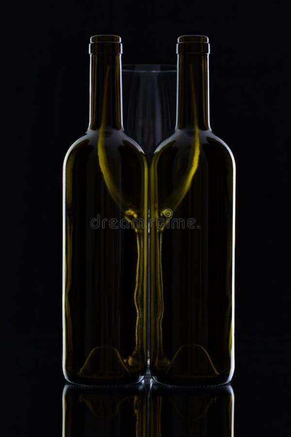 Två olika flaskor av vin arkivbild