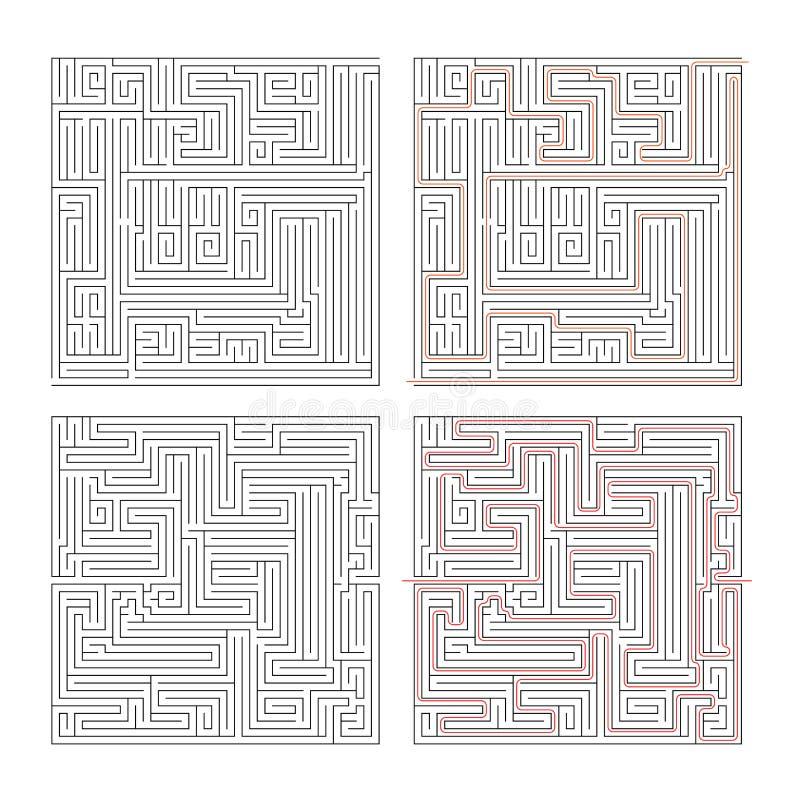 Två olika labyrinter av hög komplexitet på vit och lösningar royaltyfri illustrationer