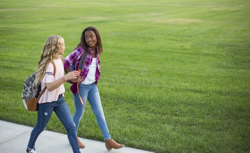 Två olika skolaungar som tillsammans går och talar på vägen till skolan royaltyfri bild