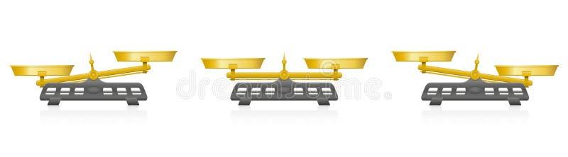 Två Pan Balance Golden Weighing Scale royaltyfri illustrationer