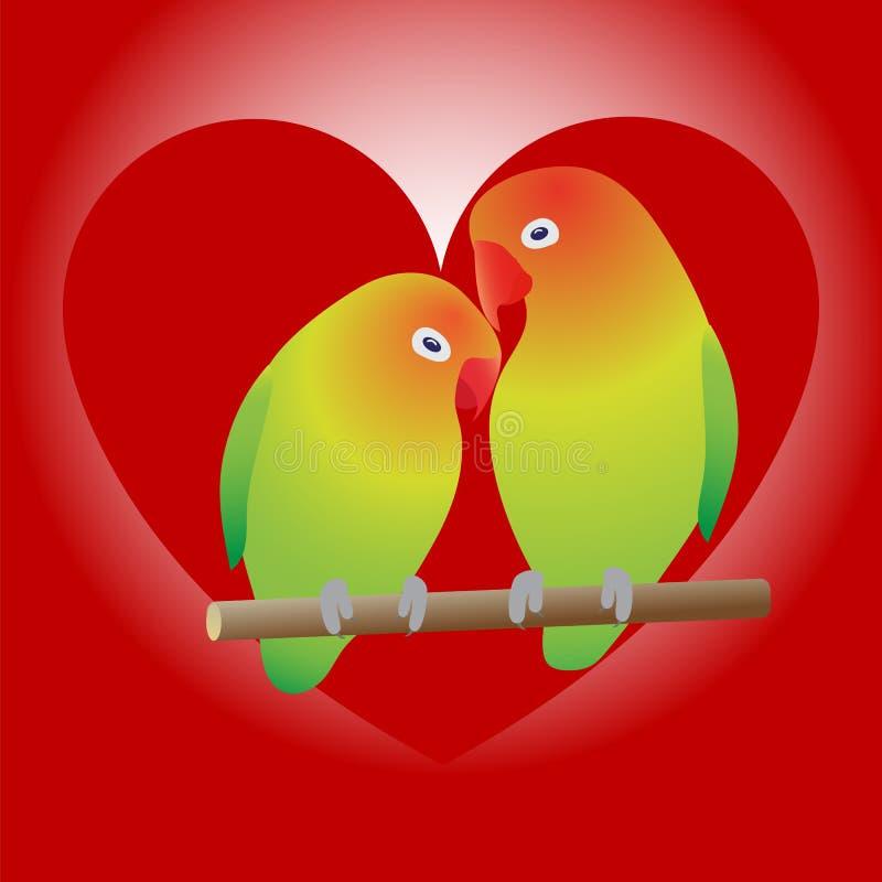 Två papegojor på filial och hjärta royaltyfri illustrationer