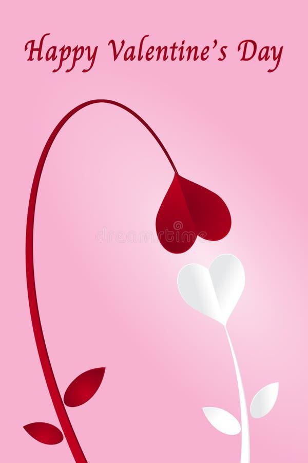 Två pappers- snittblommor för hjärta och lycklig valentindag på rosa lodisar stock illustrationer