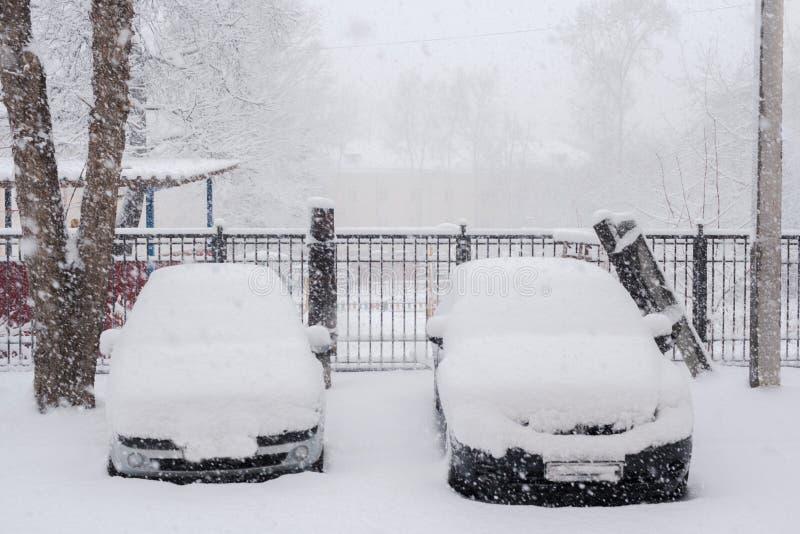 Två parkerade snö-täckte bilar i borggård under rikligt snöfall arkivfoton