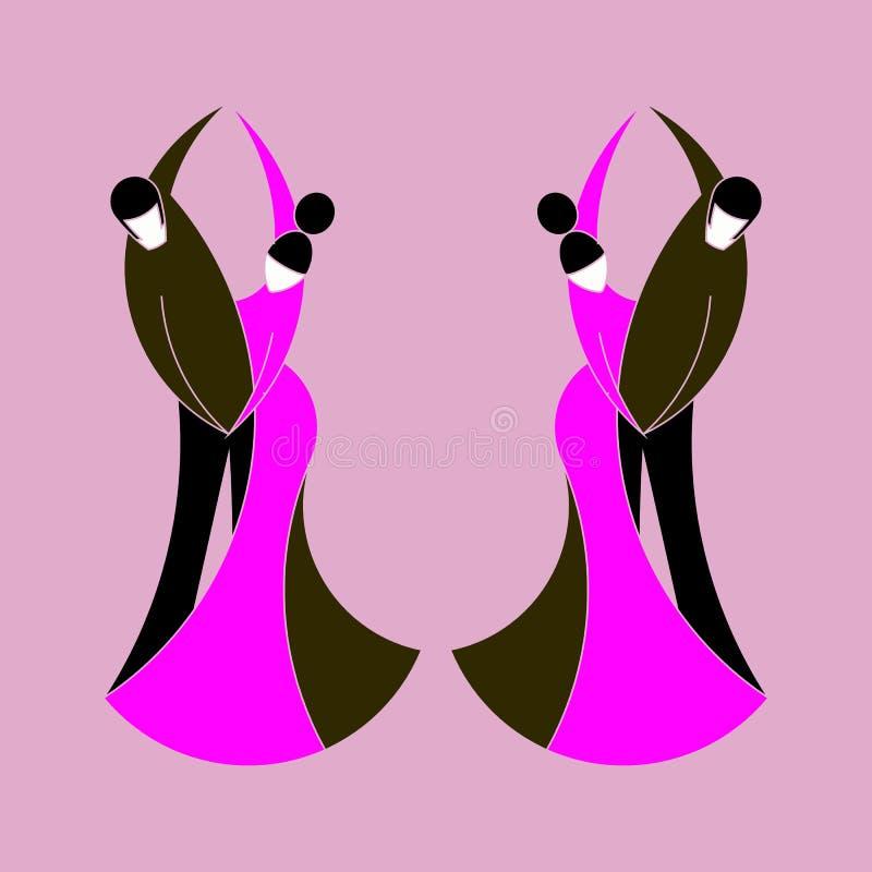 Två parmän och kvinnor dansar klassisk dans stock illustrationer