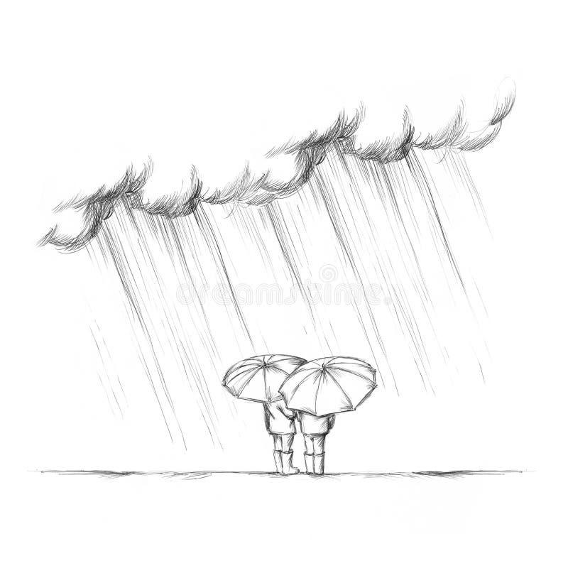 Två personer i regnet med paraplyer bakifrån vektor illustrationer