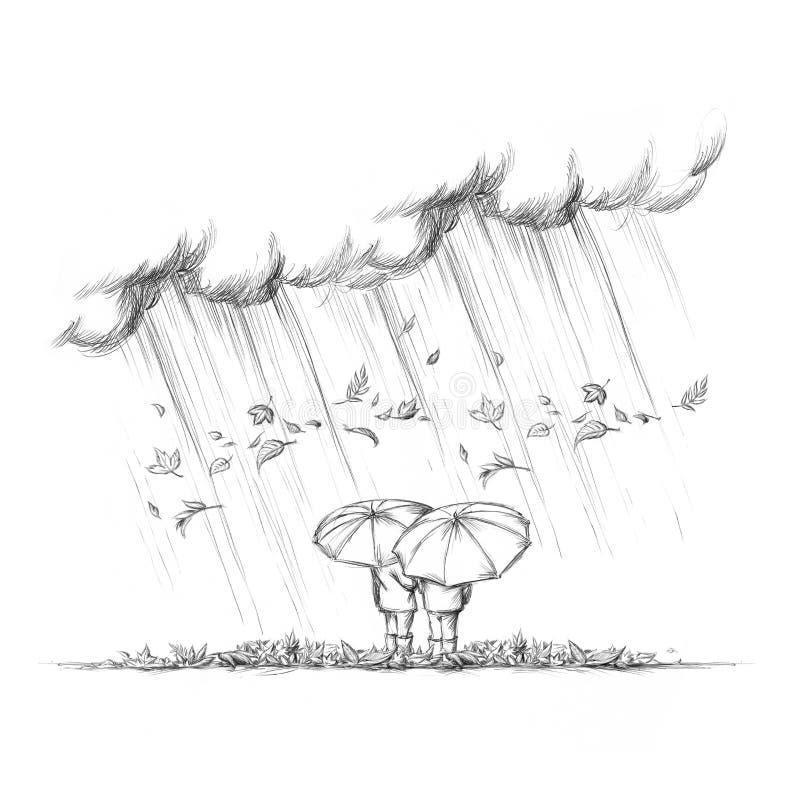 Två personer med paraplyer i höstväder vektor illustrationer
