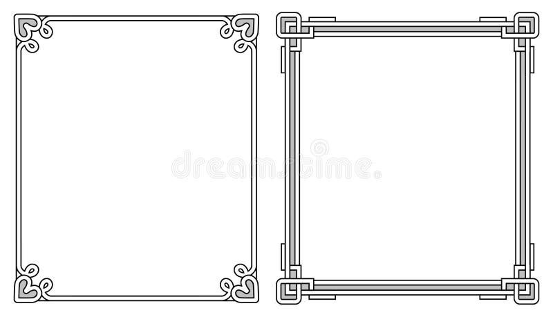 Två Photoframes med dekorbeståndsdelar på varje hörn royaltyfri illustrationer