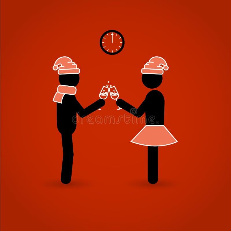 Två pinnediagram Mannen och kvinnan firar nytt år eller jul vektor illustrationer