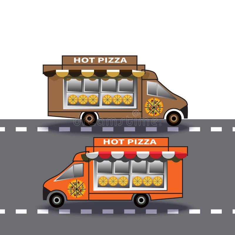 Två pizza för leveranslastbil kör ner huvudvägen vektor illustrationer