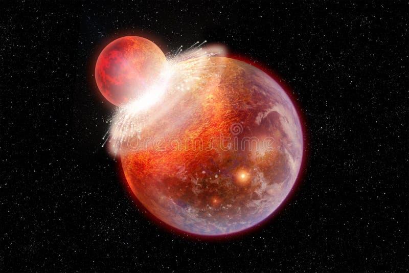 Två planeter kolliderar i djupt utrymme royaltyfria bilder