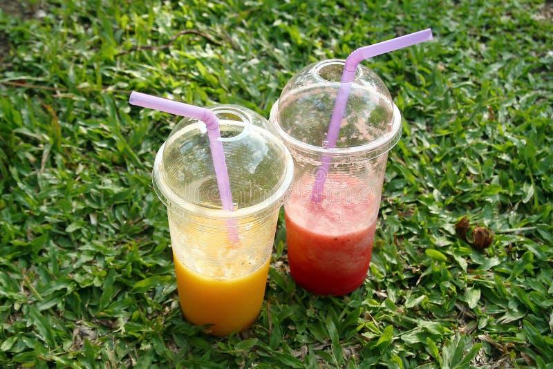 Två plast- exponeringsglas med mangofruktsaft och vattenmelonfruktsaft på ett gräs royaltyfria bilder
