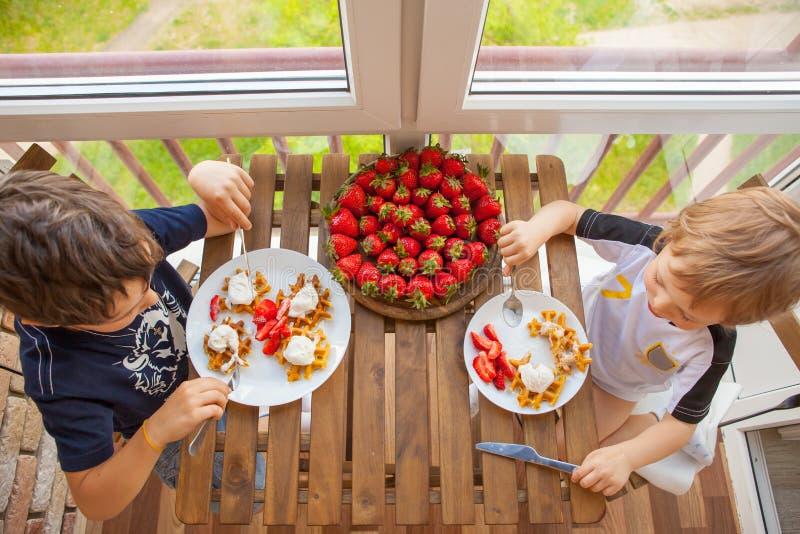Två pojkar äter dillandear med jordgubbar och glass fotografering för bildbyråer
