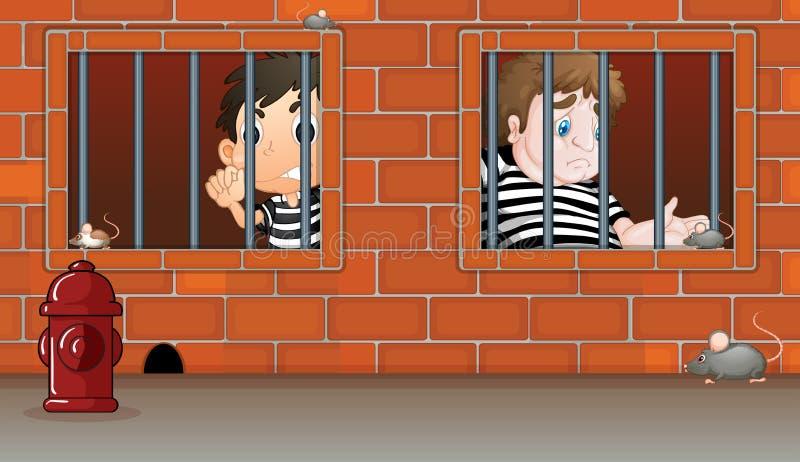 Två pojkar inom arresten royaltyfri illustrationer