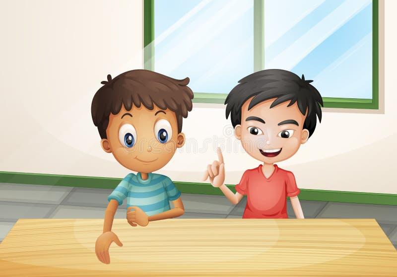Två pojkar nära trätabellen royaltyfri illustrationer