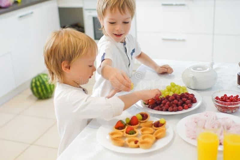 Download Två Pojkar Som Förbereder Frukosten I Vitt Kök Fotografering för Bildbyråer - Bild av klänning, äta: 78727705