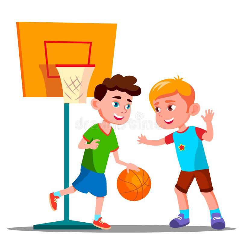 Två pojkar som spelar basket på för lekplats vektorn tillsammans Sommaraktivitet isolerad knapphandillustration skjuta s-startkvi vektor illustrationer