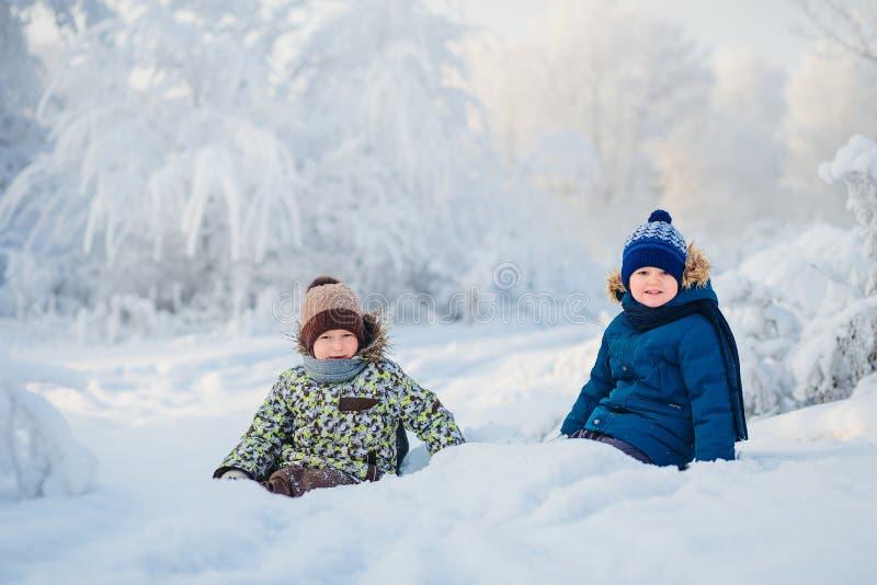 Två pojkar som spelar i en vinterskog, bröderna royaltyfri bild