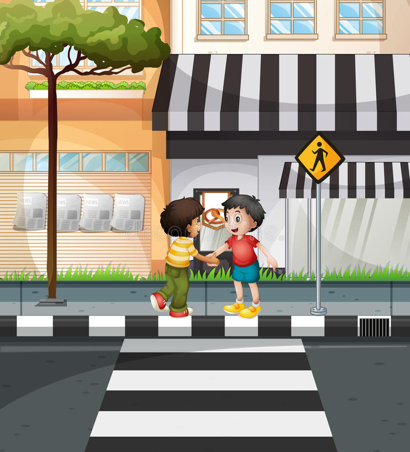Två pojkar som väntar för att korsa vägen stock illustrationer