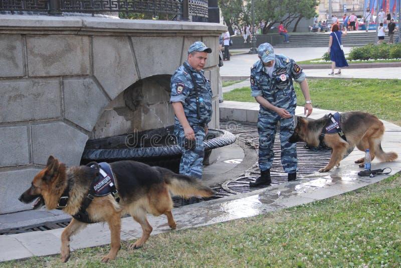 Två poliser med servicehundkapplöpning nära springbrunnen under värmen i staden royaltyfria bilder