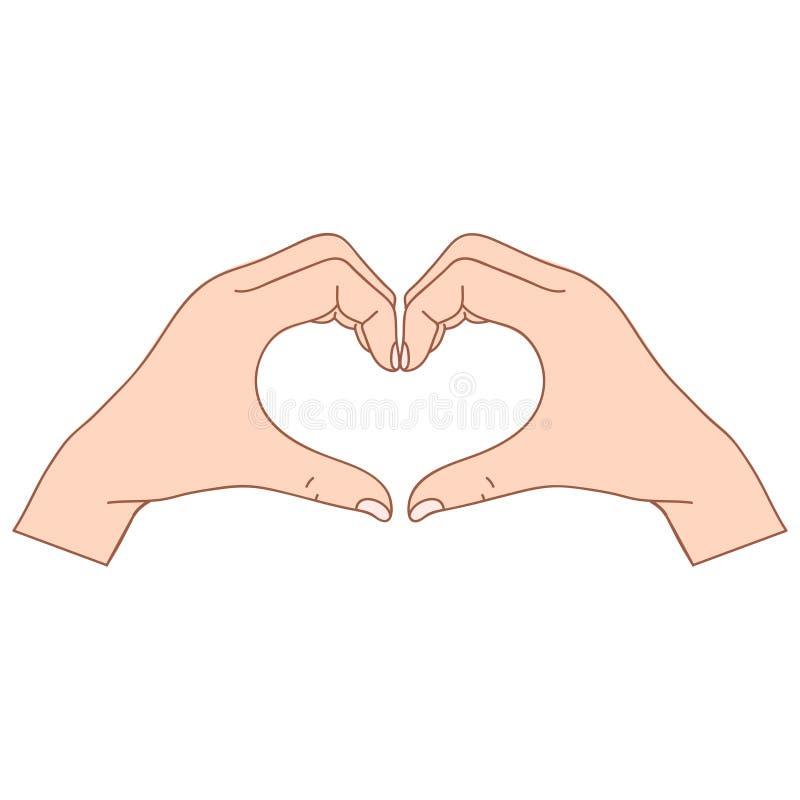 Två polygonal händer vikta i form av en hjärta på en vit bakgrund stock illustrationer