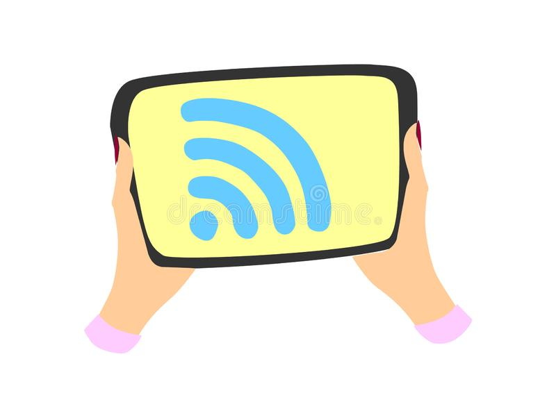 Två propra kvinnliga händer som rymmer en minnestavla Wifi logo på skärmen Plan design vektor illustrationer