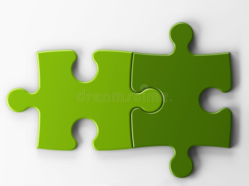 Två pusselstycken med clippingbanan vektor illustrationer