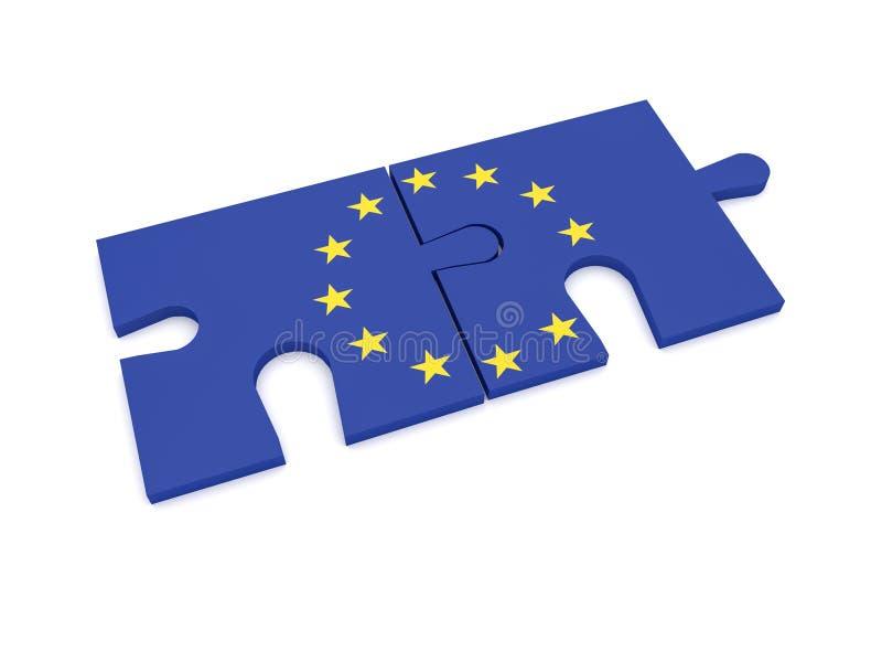Två pusselstycken med EU-flaggan, illustration som 3d isoleras på vit bakgrund vektor illustrationer
