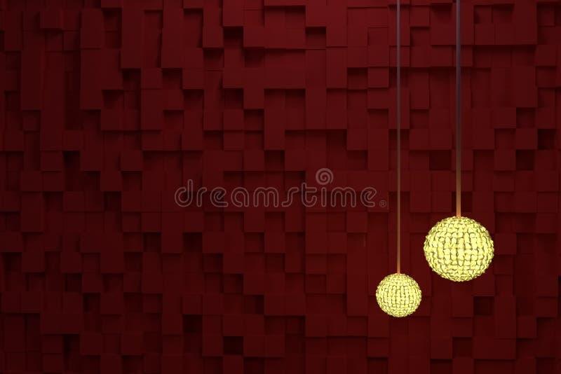 Två räcka lampor med gult ljus, röda kuber som bakgrund Drömlikt, digitalt, konstnärligt & abstrakt stock illustrationer