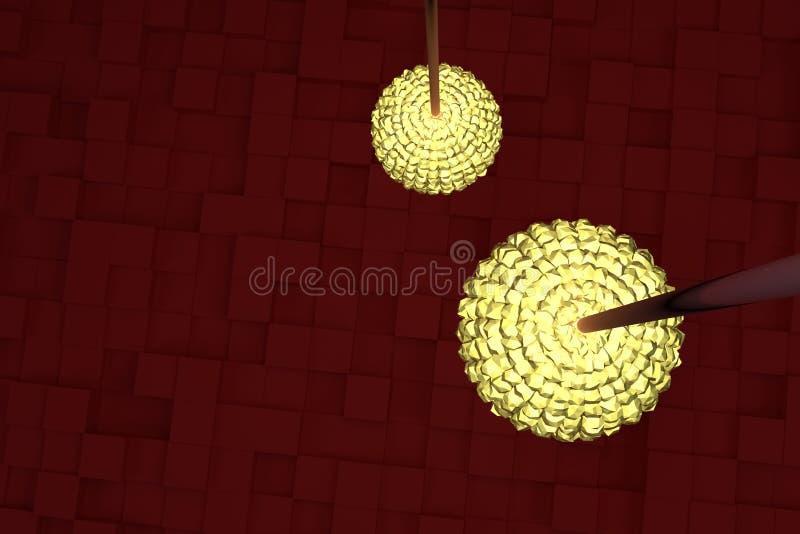 Två räcka lampor med gult ljus, röda kuber som bakgrund Drömlikt, perspektiv, konst & bakgrund vektor illustrationer