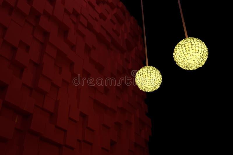 Två räcka lampor med gult ljus, röda kuber som bakgrund Fantasi, illustration, konstnärligt & sfär stock illustrationer