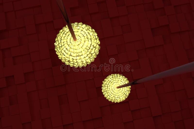 Två räcka lampor med gult ljus, röda kuber som bakgrund Fantasi, perspektiv, form & abstrakt begrepp royaltyfri illustrationer