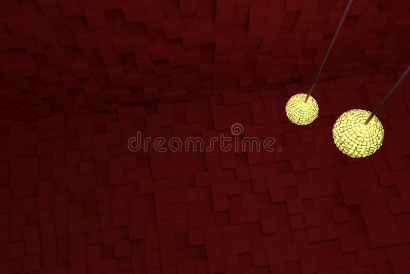 Två räcka lampor med gult ljus, röda kuber som bakgrund Generativt, perspektiv, konstnärligt & bakgrund royaltyfri illustrationer