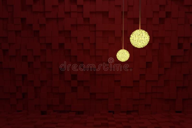 Två räcka lampor med gult ljus, röda kuber som bakgrund Bakgrund konstnärligt, modell & sfär vektor illustrationer