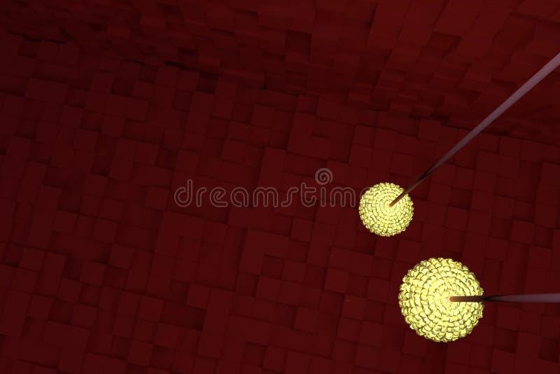 Två räcka lampor med gult ljus, röda kuber som bakgrund Perspektiv, bakgrund, tapet & diagram vektor illustrationer