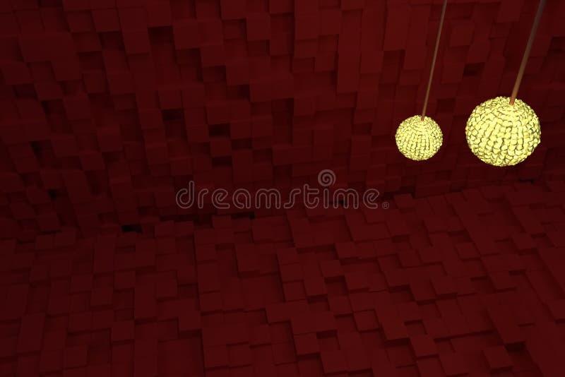 Två räcka lampor med gult ljus, röda kuber som bakgrund Stil, perspektiv, tecknad film & generativt vektor illustrationer