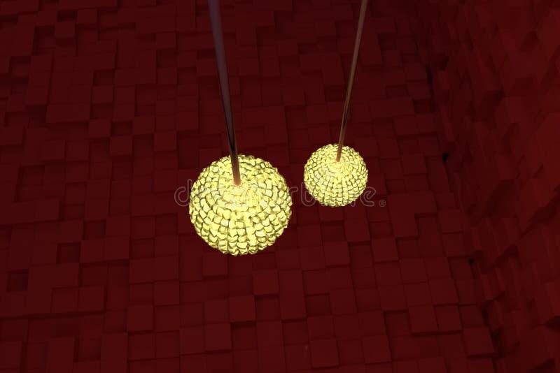 Två räcka lampor med gult ljus, röda kuber som bakgrund Tecknad film, tolkning, digitalt & konstverk stock illustrationer