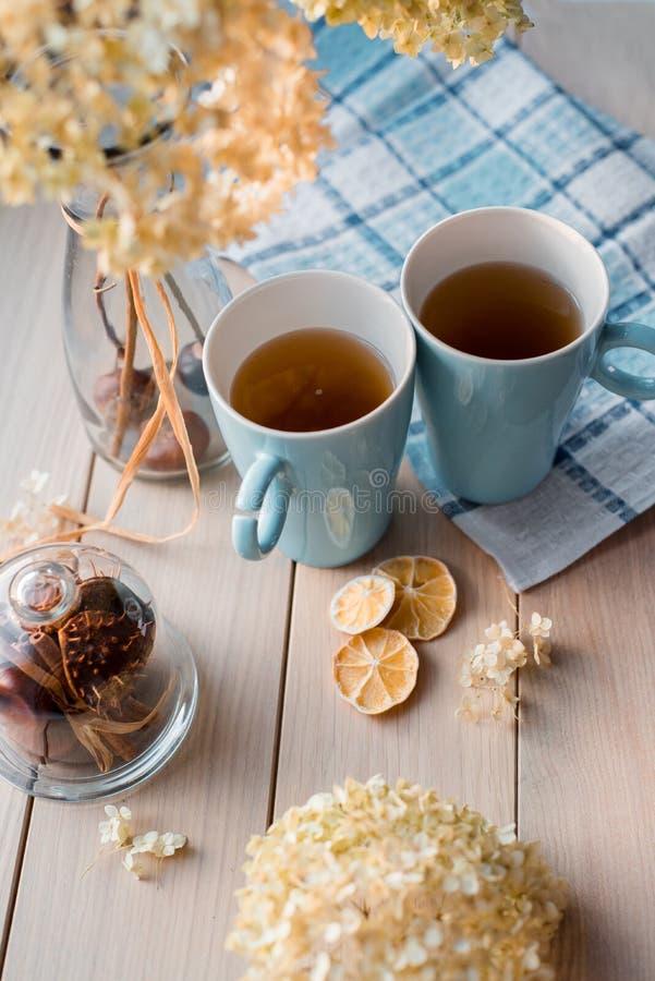 Två rånar av varmt te på en linneblåttservett Torkad vanlig hortensia, citron, kastanj, kanel arkivfoton