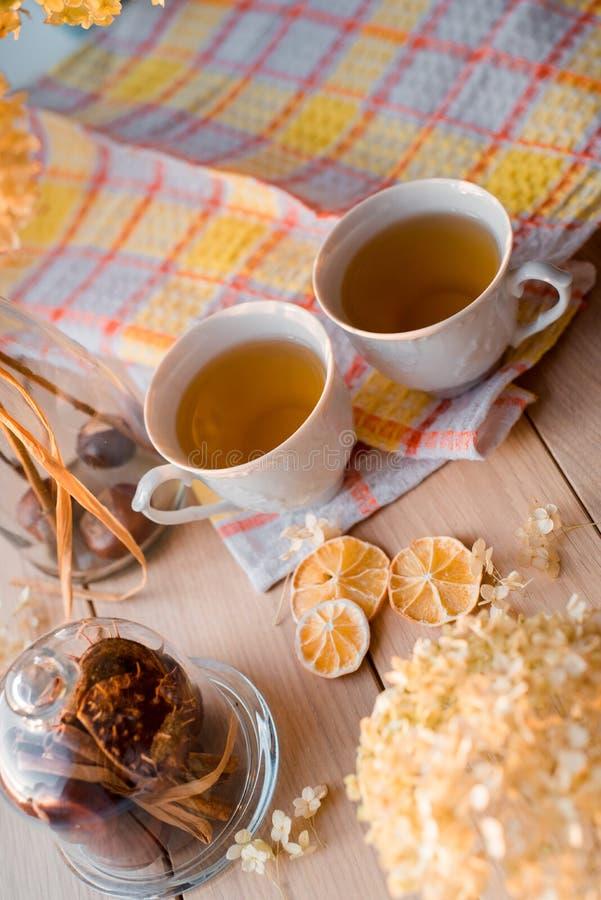 Två rånar av varmt te på en linnegulingservett Torkad vanlig hortensia, citron, kastanj, kanel royaltyfri fotografi
