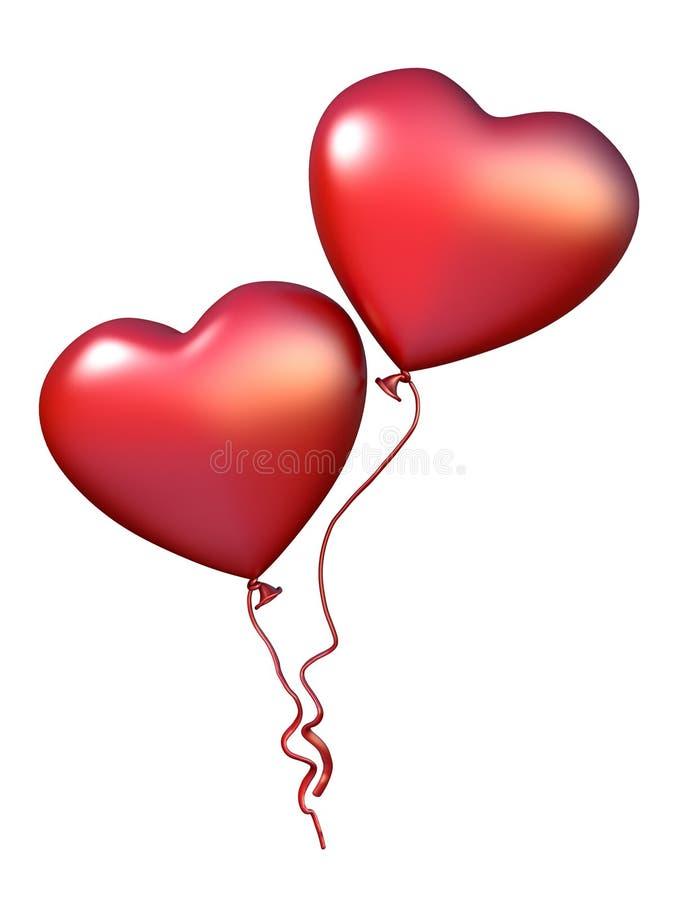 Två röd hjärta formade ballonger 3D royaltyfri illustrationer