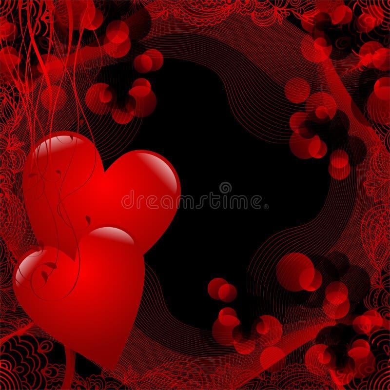 Två röda hjärtor stock illustrationer