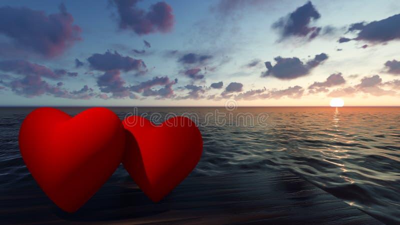 Två röda hjärtor i havet på solnedgången royaltyfri fotografi