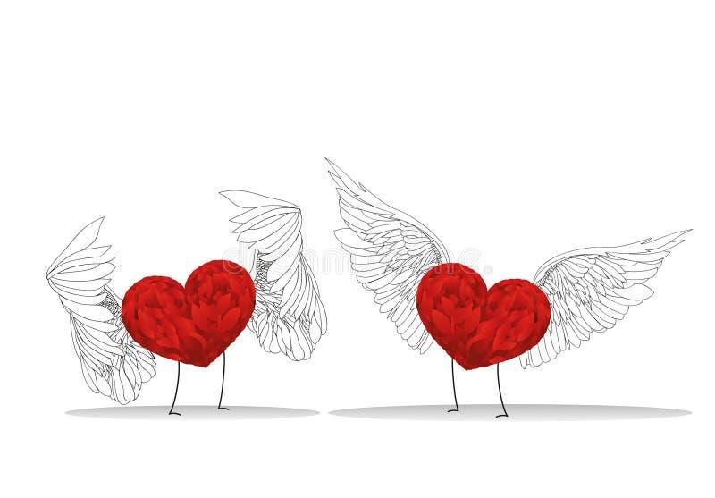 Två röda hjärtor med vingar och benmöte valentin för dag s royaltyfri illustrationer