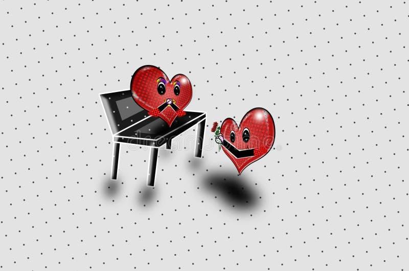 Två röda hjärtor som föreslår popkonst! royaltyfri illustrationer