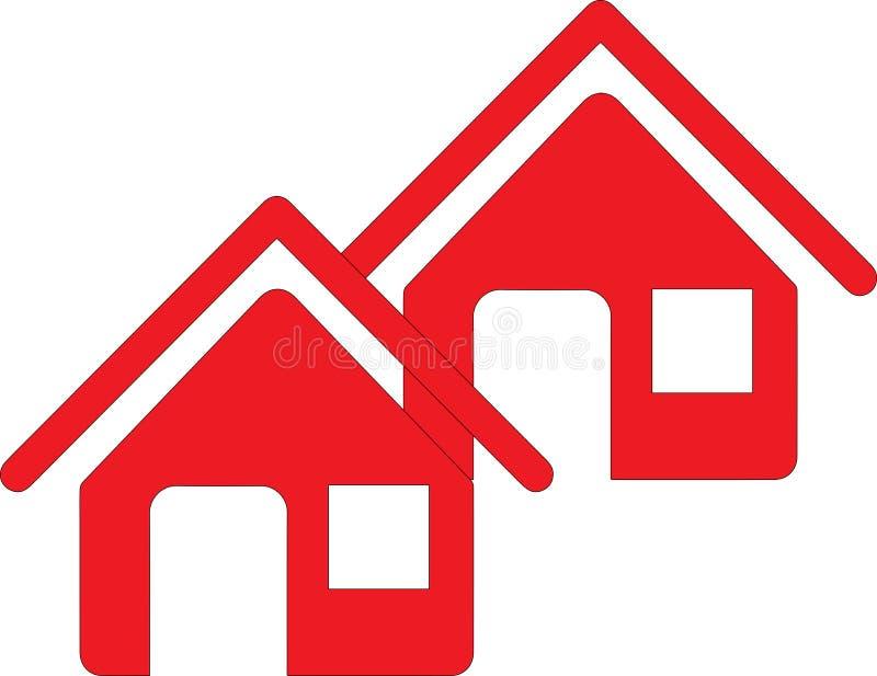 Två röda hus stock illustrationer