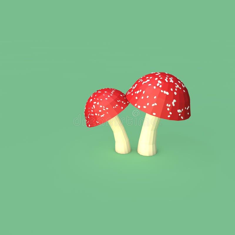 Två röda Lowpoly champinjoner stock illustrationer
