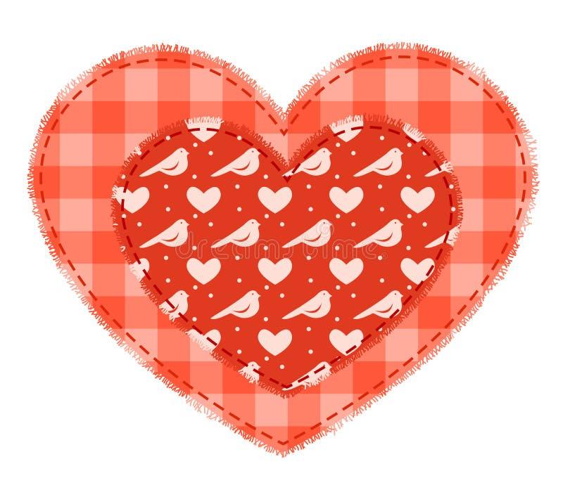 Två röda patchworkhjärtor vektor illustrationer